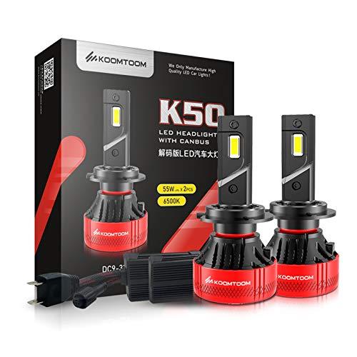 KOOMTOOM H7 Bombillas LED para faros delanteros con resistencia Canbus, 110W 18000Lm Kit de conversión de faros delanteros de 360° de ajustable 6500K