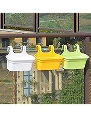 GTB Double Hook Railing Planter, Garden Railing Pots, Hanging Pots for Plant Balcony Railing (3, Double Hook Pot)