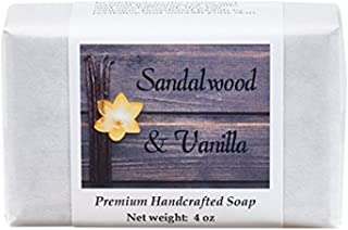 Sandalwood Vanilla Soap - Handmade Soap for Softer Skin with Cocoa Butter, Shea Butter, Sweet Almond, Fragrance and Essential Oils by MoonDance Soaps (One Bar, 4 oz)