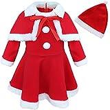 IEFIEL Vêtements Noël Robe Bébé Filles avec Châle et Chapeau Noël Costume 12 Mois - 3 Ans Rouge 18-24 Mois