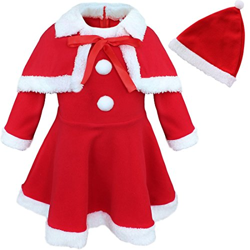 CHICTRY Infant Baby Girls Christmas Santa Claus Costume Dress with Shawl Hat Outfits Red 12 Months