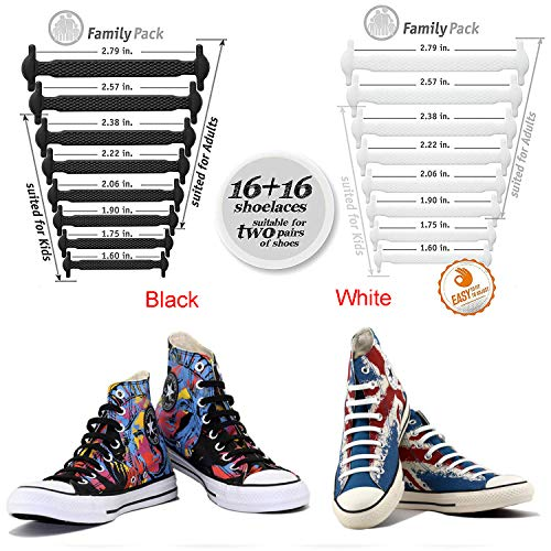 No Tie Shoelaces for Men and Women - Best in Sports Fan Shoelaces â Waterproof Silicon Flat Elastic Athletic Running Shoe Laces with Multicolor for Sneaker Boots Board Shoes and Casual (Black + White)