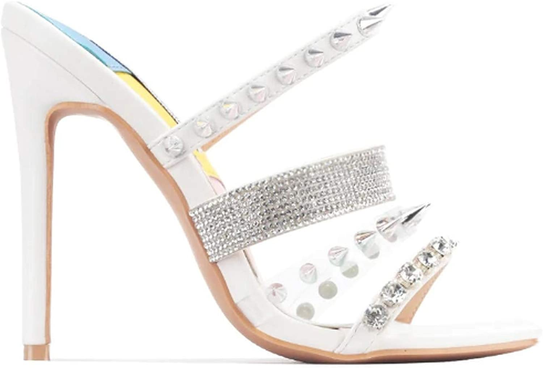 Cape Robbin Super popular specialty store Women's Open Toe Discount mail order Sand Rhinestone Heel Stiletto Mules