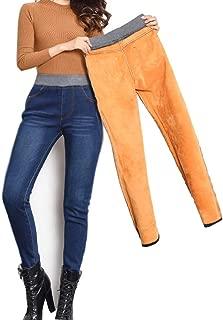 Womens Winter Jeans High Waist Skinny Pants Fleece Lined Elastic Waist Jeggings