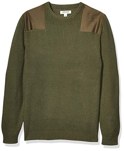 Amazon Brand - Goodthreads Men's Soft Cotton Military Sweater, Olive X-Small