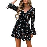 Chanyuhui Dresses for Women,Women Mini Dress Long Sleeve Casual Dress V Neck Floral Print Party Short Dress Black