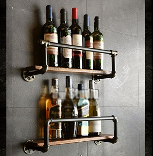 Z&HAO Rohr-Modellierung Weinregal Wand Bar Weinregal Weinflasche Lagerregal Vintage Industrie-Stil Wand Obere Regal, 50 Centimeters up and Down A Group