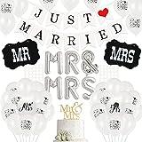 Just Married - Juego de decoración de boda, guirnalda de guirnalda Just Married, con cuerda y 30 globos blancos, 10 globos Just Married, globos de MR & MRS, para bodas, fiestas, decoración y coche