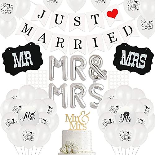 Just Married Deko,Hochzeit Deko Set,Just Married girlande banner,mit Seil und 30 Weiß Ballon,10 Just Married Luftballons,MR & MRS Folienballon,für Hochzeit Fest Party Dekoration und Auto