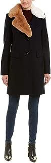 Womens Asymmetrical Faux Fur Walker w/Two-Tone Fur Collar
