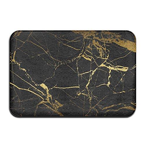 Vercxy Marmor-Fußmatte, rutschfest, für Haus und Garten, Schwarz / goldfarben