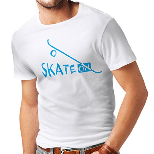 Maglietta da Uomo Skate ON ! Motivational Clothing - Skateboard/Skate/Longboard, Gifts for The Skateboarders (XX-Large Bianco Blu)