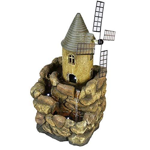 17.7 à 3 Niveaux résine Rock & Castle Lighthouse Moulin à Eau de Table Fontaine w/3 LED lumières