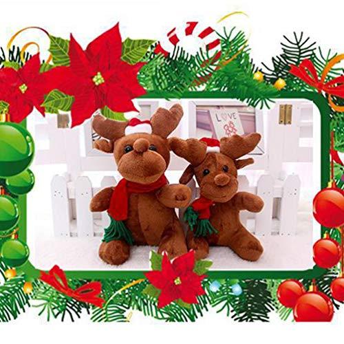 jojofuny 2Pcs Muñeco de Peluche de Reno de Navidad Muñeco de Peluche de Ciervo de Alce con Música Decoración de Juguete de Regalo para Niños para Decoración de Fiesta de Navidad (con