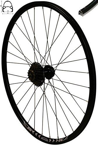 Redondo 26 Zoll Hinterrad Laufrad Felge Schwarz 6-Lo Disc + 7-Fach Shimano Kranz