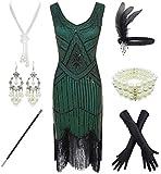 1920er Jahre Gatsby Pailletten Fransen Paisley Flapper-Kleid mit 20er Jahren Zubehör Set, Grn...