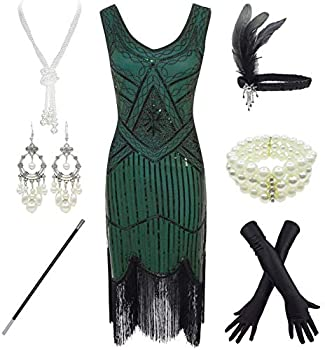 1920s Gatsby Sequin Fringed Paisley Flapper Dress with 20s Accessories Set  S Green