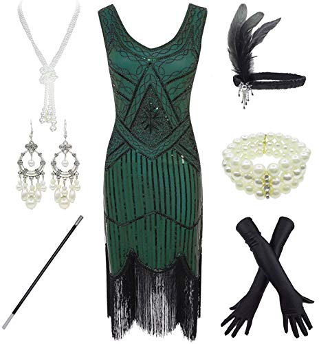 1920s Gatsby Sequin Fringed Paisley Flapper Dress with 20s Accessories Set (L, Green)