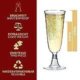 Sektgläser Plastik 50 Stück Einweg Champagnergläser 0,1l Bruchfest – Glasklar – Höhe 16cm - 4