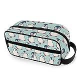QMIN - Neceser portátil con diseño de pingüinos y Animales, Bolsa de Viaje multifunción, Bolsa de Maquillaje, Bolsa de Almacenamiento para niños, niñas, Mujeres, Hombres