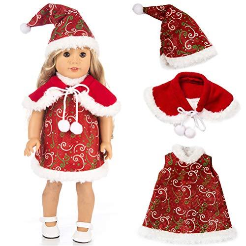Roupas de Natal para bonecas, roupas de Natal, roupas de boneca, roupas de pijama, vestidos compatíveis com bonecas American Girl de 45 cm