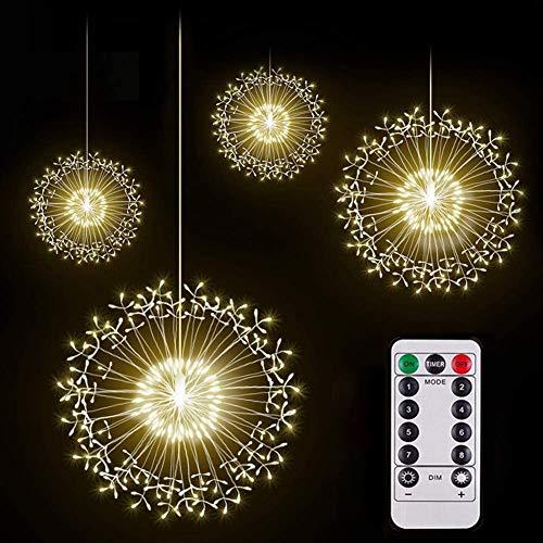 VLUNT Paquete De 80 Luces LED De Fuegos Artificiales, Cadena De Luces LED Starburst De Alambre De Cobre, 8 Modos De Cadena De Luces De Hadas Que Funcionan Con Pilas Con Control Remoto Para Jardín