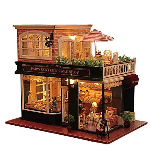 Flever Dollhouse Miniature DIY Music House Kit Manual Creative with Furniture for Romantic Artwork Gift (Travel in Paris Cafe)