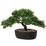 Bonsai artificiale, 22,9 cm, decorazione giapponese bonsai in vaso, piante di pino sinteti...