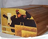 Cow & Rooster Bread Box Bamboo Wood Country Farm Kitchen Rolltop Decor New