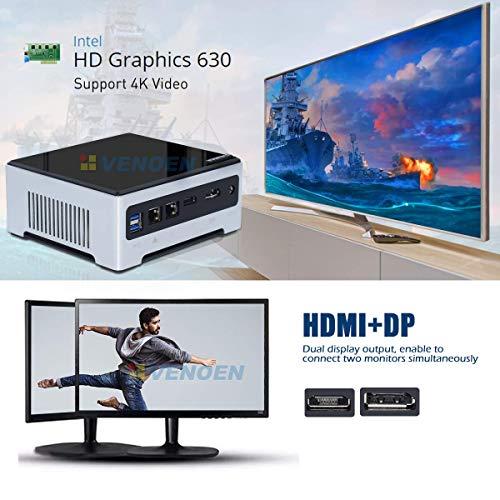 VENOEN Quad Core Mini PC Intel Core i7 7820HK,Windows 10 Linux Micro Computer Desktop PC,16G DDR4/256G SSD,HDMI+DP Support 2 Monitors,2.4G+5.8G WiFi,Bluetooth,Dual LAN