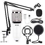 Microfono de Condensador Kit, BM-800 Micro Set Estudio Profesional Micrófono Podcast con Soporte de micrófono Brazo de Tijera, Filtro Pop (White)