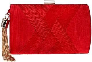 Redland Art Women's Fashion Polyester Woven Mini Clutch Bag Wristlet Shoulder Crossbody Evening Handbag Catching Purse Bag for Wedding Party (Color : Red)