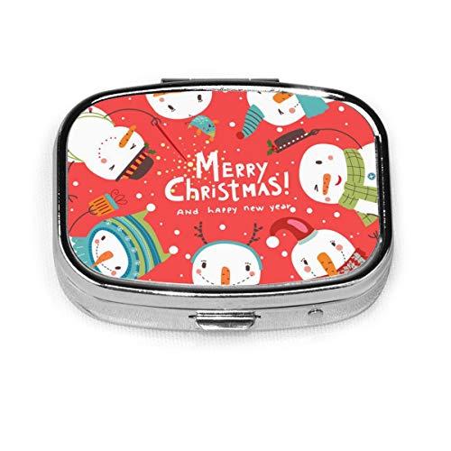 JOJOshop Vrolijk Kerstmis en Sneeuwman Schilderij Pill Box/Pill Case-Vierkante Pill Box/Case-2-vaks Pill Box/Pill Case Eén maat Vrolijk kerstfeest en sneeuwpop