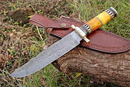 Zaildar 13 inch Custom Handmade Damascus Steel Bowie Knife Tactical Knife Hunting Knives Survival Knife Camping Knife with Pakka Wood & Bone Handle, Damascus Guard, Spacers with Leather Knife Sheath