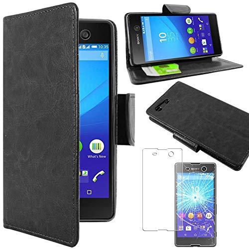 ebestStar - Funda Compatible con Sony Xperia M5, M5 Dual Carcasa Cartera Cuero PU, Funda Billetera Ranuras Tarjeta, Función Soporte, Negro + Cristal Templado [Aparato: 145 x 72 x 7.6mm 5.0'']