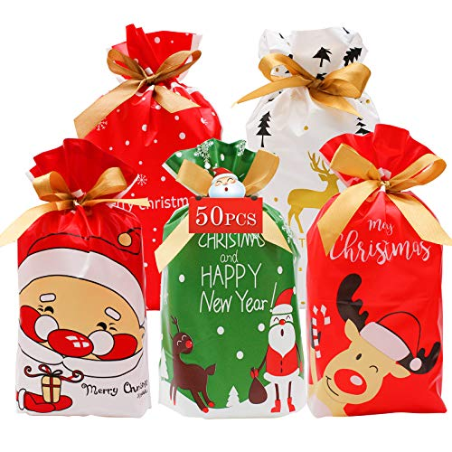 Christmas Drawstring Gift Wrapping Bags 50PCS - Christmas Candy Bag 10x6.2 Inches 5 Mixed Pattern,Christmas Treat Bags for Toys Candy Chocolate Goodies Party Christmas Big Bags for Candy