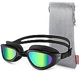 ZIONOR Swim Goggles, G6 Non Polarized Swimming Goggles UV Protection Anti-Fog Adjustable Strap Adult Men Women (Non-Polarized Mirror Gold Lens Black Frame)