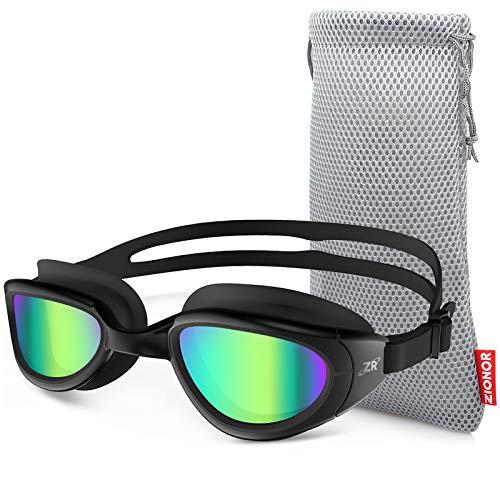 ZIONOR Swimming Goggles, G6 Non Polarized Swim Goggles UV Protection Watertight Anti-Fog Adjustable Strap Comfort fit for Unisex Adult Men and Women (Non-Polarized Mirror Gold Lens Black Frame)