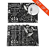 Tidyki Vintage Magic Ouija Board Skull Halloween Place Mats Set of 6 Table Mats Washable Fabric Heat Insulation Placemats for Dining Table Kitchen Table 12' X 18'
