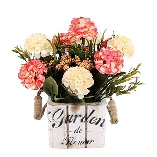 Flikool Hortensie Künstliche Blumen mit Holztopf Gefälschte Künstliche Pflanzen mit Topf Topfpflanzen Bonsai Hydrangea Kunstblumen Kunstpflanzen - Pink Blumen mit Square Weiß Pot
