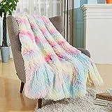 Bobor Rainbow Faux Fur Throw Blanket for Girls, Super Soft Shaggy Reversible Sherpa Fleece Microfiber Blanket, Fuzzy, Lightweight, Plush, Decorative Blankets for Couch Sofa Bed (Rainbow, 50'x60')