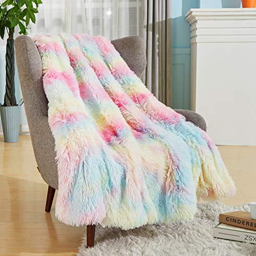 "Bobor Rainbow Faux Fur Throw Blanket for Girls, Super Soft Shaggy Reversible Sherpa Fleece Microfiber Blanket, Fuzzy, Lightweight, Plush, Decorative Blankets for Couch Sofa Bed (Rainbow, 50""x60"")"