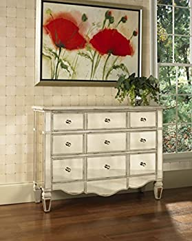 Pulaski Veronica Mirrored Accent Chest 46 by 15 by 34-Inch Silver