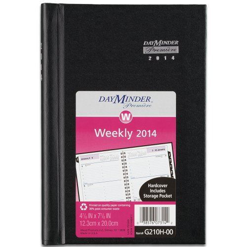 DayMinder 2014 Premiere Weekly Appointment Book, Black Hard Cover, 8.38 x 5.63 x .75 Inches (G210H-00)