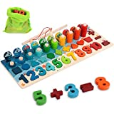 Wooden Number Puzzle Montessorit Toys, 5-in-1 Number Sorting Fishing Game, Shapes and Number Blocks, Educational Toys for Boys and Girls Ages 3-6 Year Old as Birthday, Festival Gifts, Party Toys