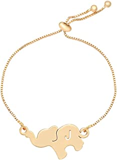 TUSHUO Alphabet Elephant Earrings Rose Gold Dangle Style Hollow 26 Letters Elephant Chain Earrings
