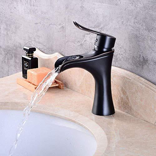 BXU-BG Grifo mezclador de baño cascada negro antiguo retro agua caliente y fría grifos para lavabo de baño