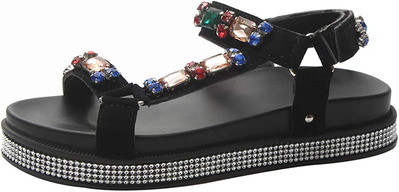 Women's Open Toe Sandals Summer Bohemia Rhinestone Sandals Boho Beach Flip Flops Platform shoes with Velcro
