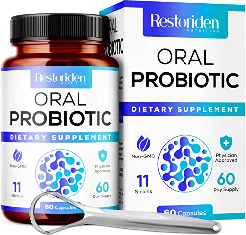 Restoriden Dental Probiotic - 11 Live Probiotic Strains, Digestive Enzymes - Healthy Oral Health Formula for Bad Breath, Tonsil Stones - Dry Mouth - Halitosis - with Tongue Scraper - 60 Day Supply