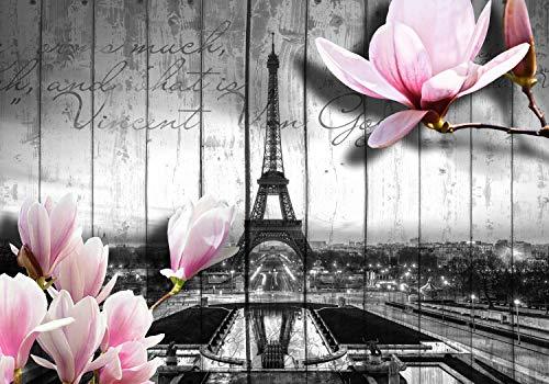 wandmotiv24 Fototapete Holz Blüten Paris Grau, XL 350 x 245 cm - 7 Teile, Fototapeten, Wandbild, Motivtapeten, Vlies-Tapeten, Zaun, Blumen, Schrift M1588
